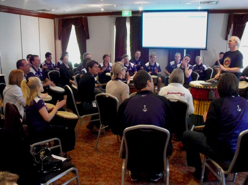 freo footy club drumming up a storm